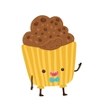 cute cartoon cupcake character vector image