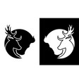 deer and buffalo cut out silhouette icon vector image vector image