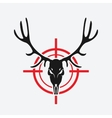 deer skull on red target vector image vector image