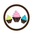 delicious cupcake sweet icon vector image