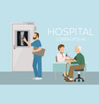 doctor checking old man patient arterial blood vector image vector image