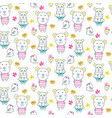 doodle bears seamless pattern vector image
