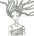 fantasy forest woman coloring page vector image vector image