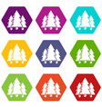 fir tree icons set 9 vector image