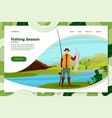 fisherman on river with catched fish vector image vector image