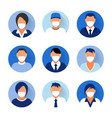 flat modern minimal avatar icons with medical mask vector image