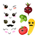 funny cartoon cute beetroot cabbage and ripe vector image vector image