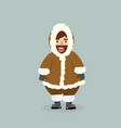 funny eskimo man in flat design vector image