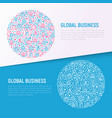 global business concept in circle vector image vector image