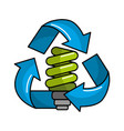 green save bulb with recycling symbol vector image vector image