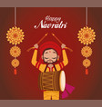 happy navratri celebration lettering with man vector image vector image