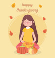happy thanksgiving day woman with cake and pumpkin vector image vector image