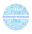 information technology in circle thin line icons vector image vector image