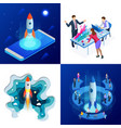 isometric four concepts of businnes start up for vector image vector image