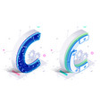 letters cwith social networks elements vector image vector image