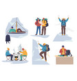 mountain climber cartoon character set flat vector image
