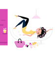 Pretty fashion female relaxing in her room vector image vector image