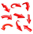 red 3d shiny arrows set of bent icons vector image vector image