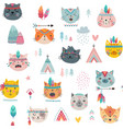 seamless pattern with tribal boho cats hand drawn vector image