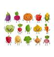 set funny vegetables fresh food concept vector image