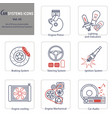 set of 8 icons automobile mechanical and electric vector image vector image
