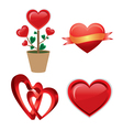 set of a red valentine heart vector image