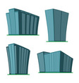 set of four modern high-rise building vector image