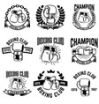 set of monochrome boxing club emblems on white vector image vector image