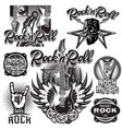 set of monochrome patterns on the theme of rock vector image