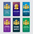 set of vertical banners for crypto currency with vector image vector image