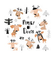 set with cute cartoon little deers in forest vector image vector image