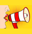 sexy pop art woman mouth and megaphone speaking vector image
