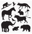 silhouettes animals 3 vector image vector image