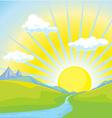 sunny landscape background vector image