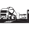 tank truck loading petrol station with fuel vector image