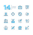 training - set of line design style icons vector image vector image
