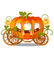 vintage horse carriage of pumpkin with florid vector image