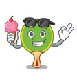 with ice cream ping pong racket character cartoon vector image