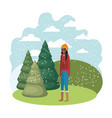 young woman with winter clothes and winter pines vector image vector image