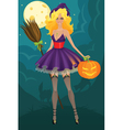 Beautiful witch with pumpkin vector image vector image