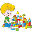 Boy playing with bricks vector image vector image