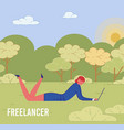 business woman freeelancer in park works remotely vector image vector image