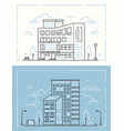 city buildings - set thin line design style vector image