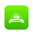cleaning house icon green vector image