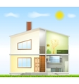 Cut in house interiors and part facade vector image