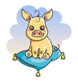 cute cartoon baby golden pig vector image
