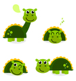 Cute green dinosaur set isolated on white vector image