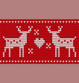 deer and heart red embroidery for christmas vector image vector image
