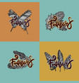 design of logos with feathers vector image vector image