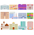 different city public buildings houses facade flat vector image vector image